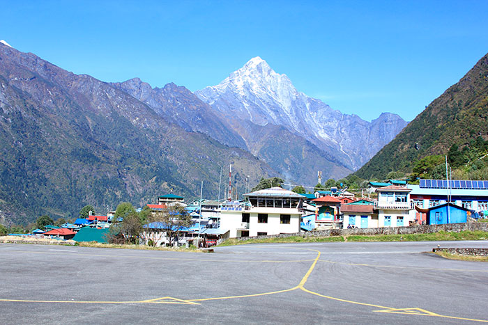 Tenzing Hillary Airport with Mt. Kongde