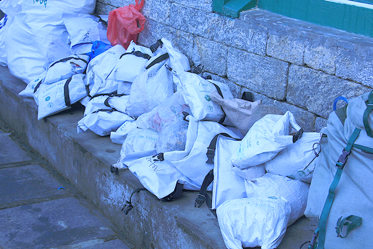 Garbage that has to be carry back to Lukla from Namche where out team carry as much as possible