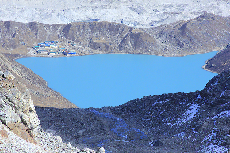 Gokyo Lake with Gokyo Village