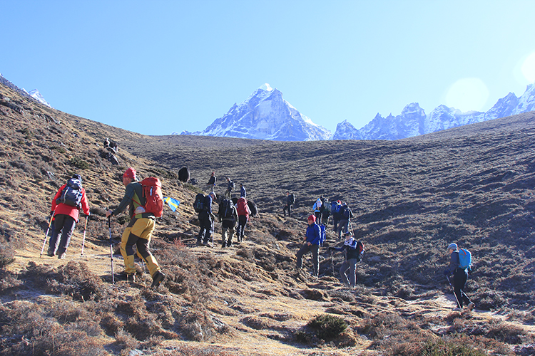 Heading towards the cliff for acclimatization trip
